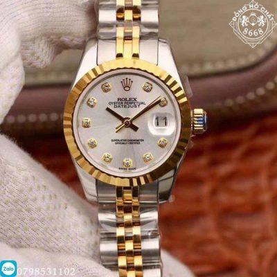 Đồng hồ Rolex Lady DateJust 279174-0009 Replica 1:1 có màu trắng kết hợp demi vàng gold