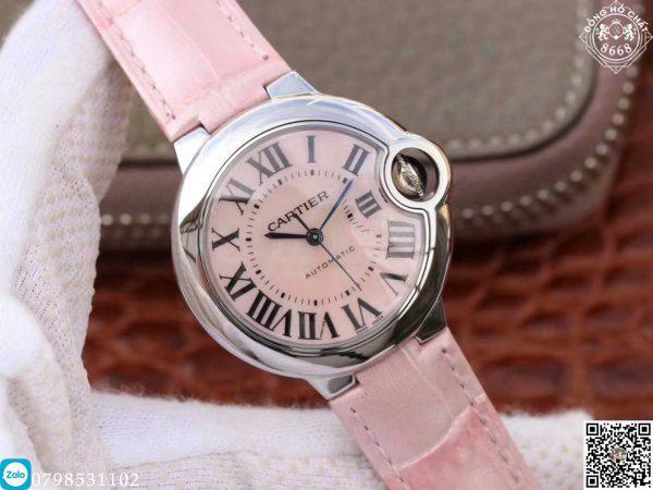 đồng hồ cartier nữ siêu đẹp với màu sắc ánh hồng