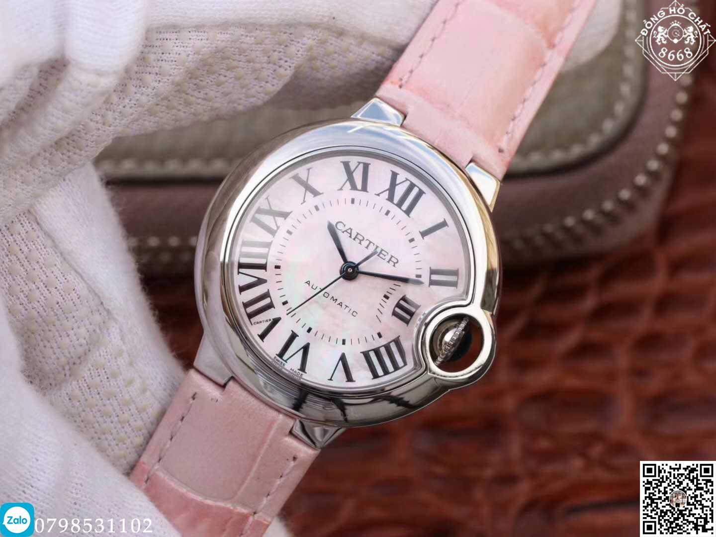 đồng hồ cartier automatic đặc biệt đơn giản kết hợp với màu hồng vô cùng nữ tính