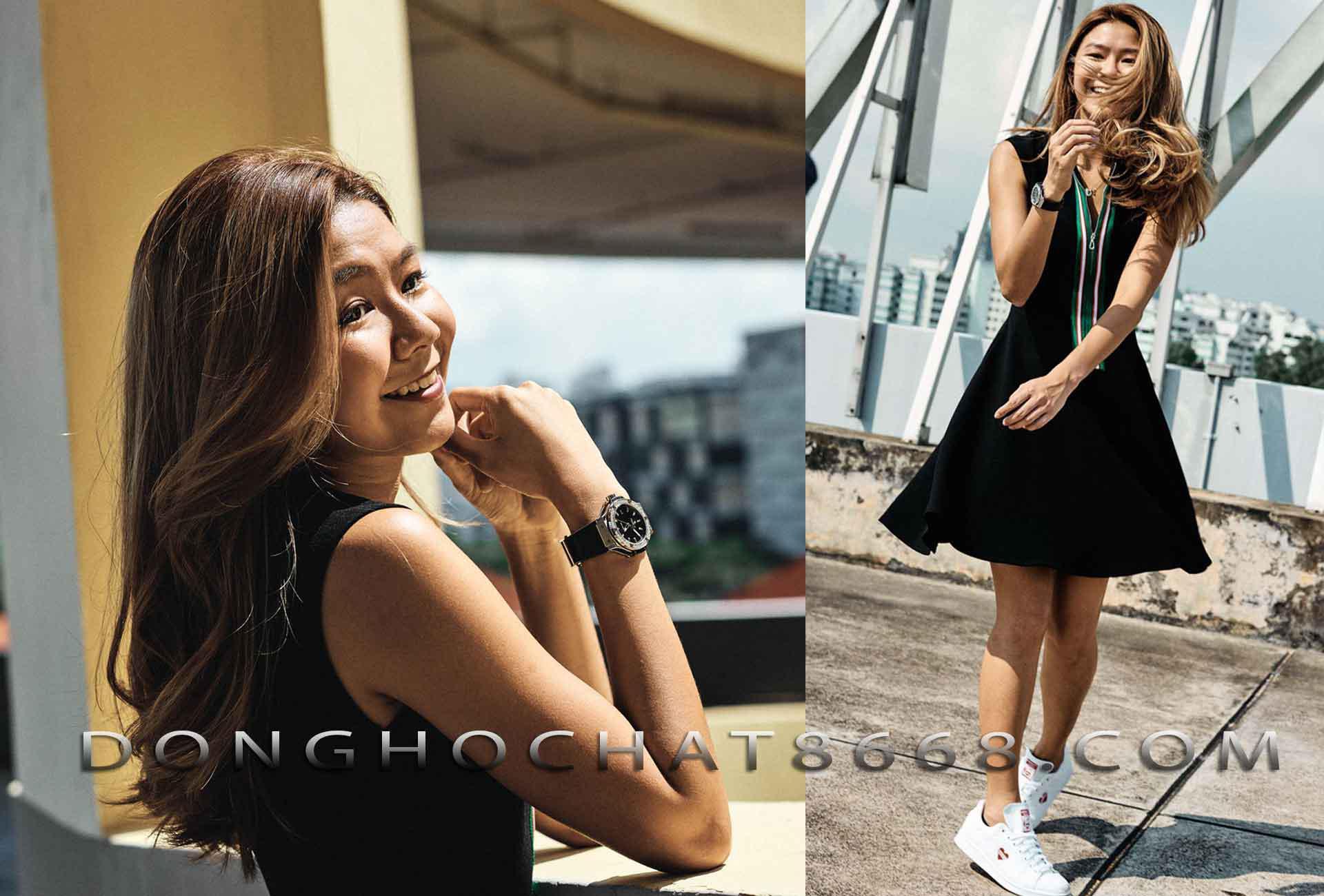 Cô nàng cá tính với kiểu cách phối đồ trẻ trung, năng động thì đồng hồ Hublot là kiểu đồng hồ nữ đẹp và cực kỳ hợp với những cô nàng có cá tính mạnh mẽ