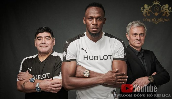 Cậu bé vàng Diego Maradona , Tia chớp đen Jamaica Usain Bolt hay Người đặc biệt HLV Jose Mourinho là ba trong số những người nổi tiếng đại diện cho thương hiệu đồng hồ Thụy Sĩ Hublot