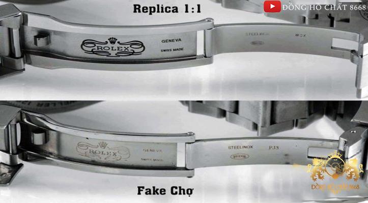 Cuối cùng chạm khắc là tiêu chuẩn của các thiết kế cao cấp. Rất dễ dàng nhận thấy nó được làm tỉ mỉ như thế nào trên các sản phẩm đồng hồ Replica còn với các sản phẩm chợ rẻ tiền thì đó lại là in