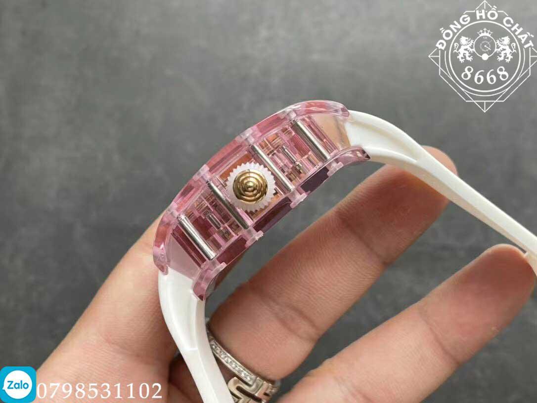bộ vỏ khung trong suốt được làm bằng sapphire của đồng hồ richard mille fake 1