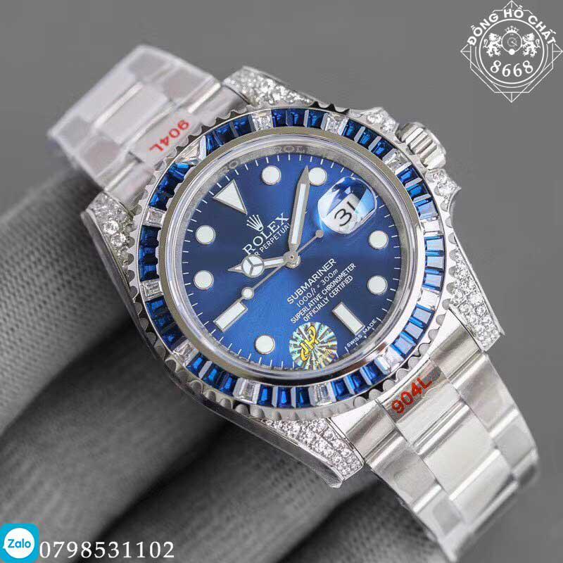 mặt xanh năng động vá sắc nét của đồng hồ rolex super fake