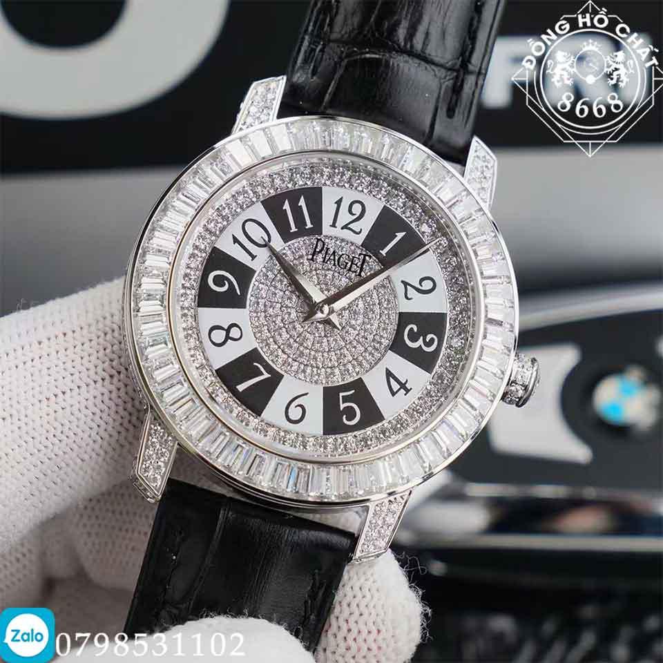 mặt số đồng hồ piaget full đá được bao phủ bằng rất nhiều các viên kim cương