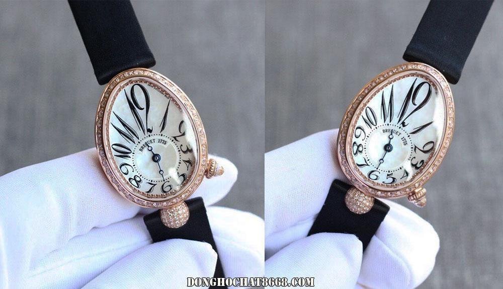 Mẫu đồng hồ Breguet dành cho nữ với mặt số hình giọt lệ tròn đang rất được thịnh hành hiện nay.