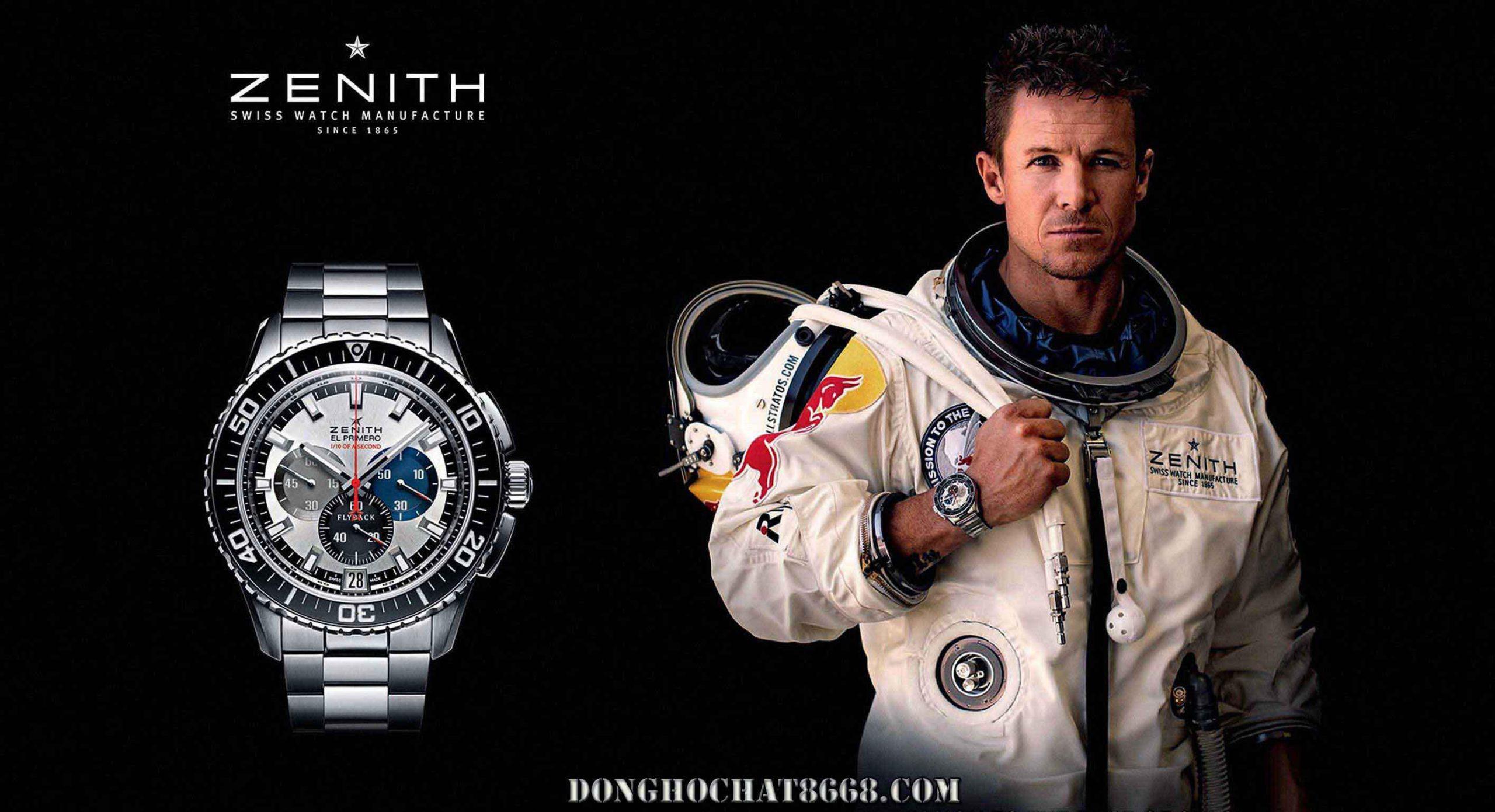 Zenith thương hiệu đầu tiên trên thế giới xuất hiện trên tay của vận động viên nhảy dù Felix Baumgartner trên không gian vũ trụ xuống mặt đất.