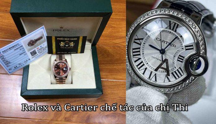 Chế tác đồng hồ kim cương vàng nguyên khối Rolex và Cartier của chị Thi